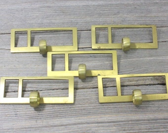 Vintage solid brass library card catalogue drawer pulls with label holders. Priced individually