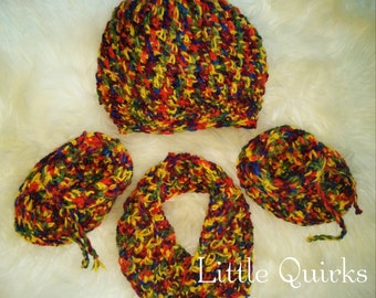 Colourful Crochet Baby Hat, Scarf, and Booties Set