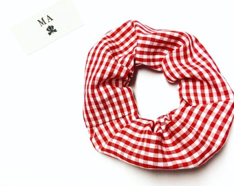 Red checked scrunchie