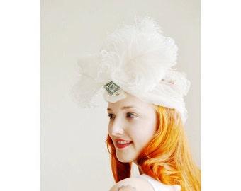 Vintage Ostrich Feather Turban and Brooch, Twenties Turban, 20s Headpiece, Flapper Bride