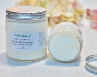 Grapefruit Body Butter, Whipped Body Cream, Natural Body Lotion, Repairing Nourishing Hydrating Body Butter, Natural Moisturizer, 2 /4 /6 oz