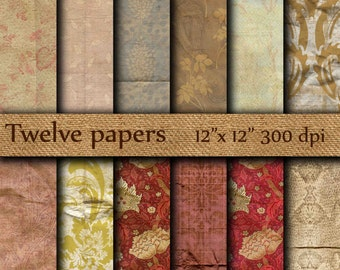 """Vintage digital paper :"""" Old Wallpaper """" crumpled wallpaper , distressed paper , distressed damask  , antique paper , grunge paper"""