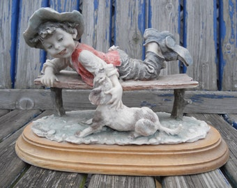 Giuseppe Armani Boy on Bench with Dog. Vintage Capodimonte Figurine.