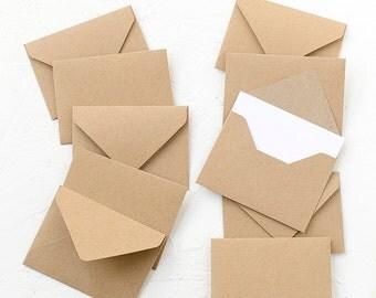 20 Tiny Kraft Paper Envelopes with White Inserts, Invitations, Business Card Envelopes, Favor Envelopes, Birthday,Wedding,Birthday,Recycled