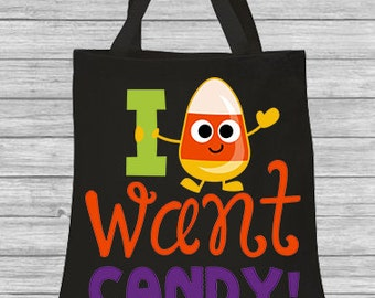 Trick or Treat Bag Halloween Bag Personalized Canvas I Want Candy