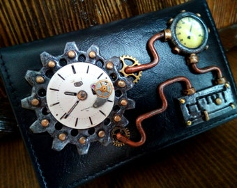 Steampunk Business Card Holder. Leather Card Holder. Steampunk Purse