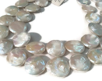 """20MM Big Fresh Water Pear Coin Shape, Length 16"""" Pear Coin Necklace. Big Size Coin , Top Quality Coin"""