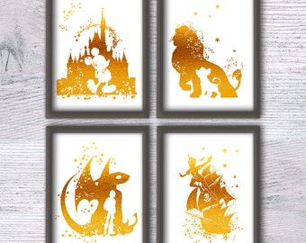 Disney gold foil print Mickey Mouse real foil poster Set of 4 Disney wall decor Gold foil print Nursery room decor Kids room wall art G175