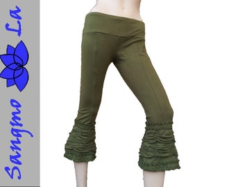 "Leggings ""Chanchal"" S/M Hippie Gipsy Tanz Goa Ethno Rüschen Pixie Elfe Fee olive grün schwarz rot braun lila"