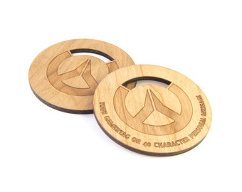Overwatch inspired Cherry Wood Coaster with Structure Oil finish