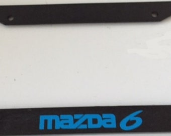 Mazda 6 Racing -  Black with Blue Automotive License Plate Frame