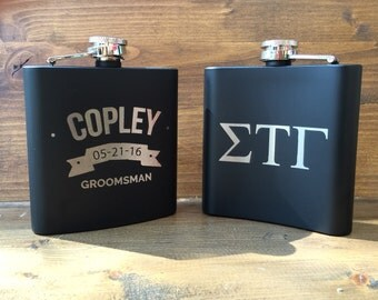 Double Sided Flask, Engraved Groomsman Flask, Personalized Groomsman Flask, Wedding Party Flask, frat gift Flask, fraternity brother gift