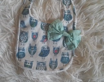 Baby girl Bib with Bow | Owl Bib | Woodland Creatures