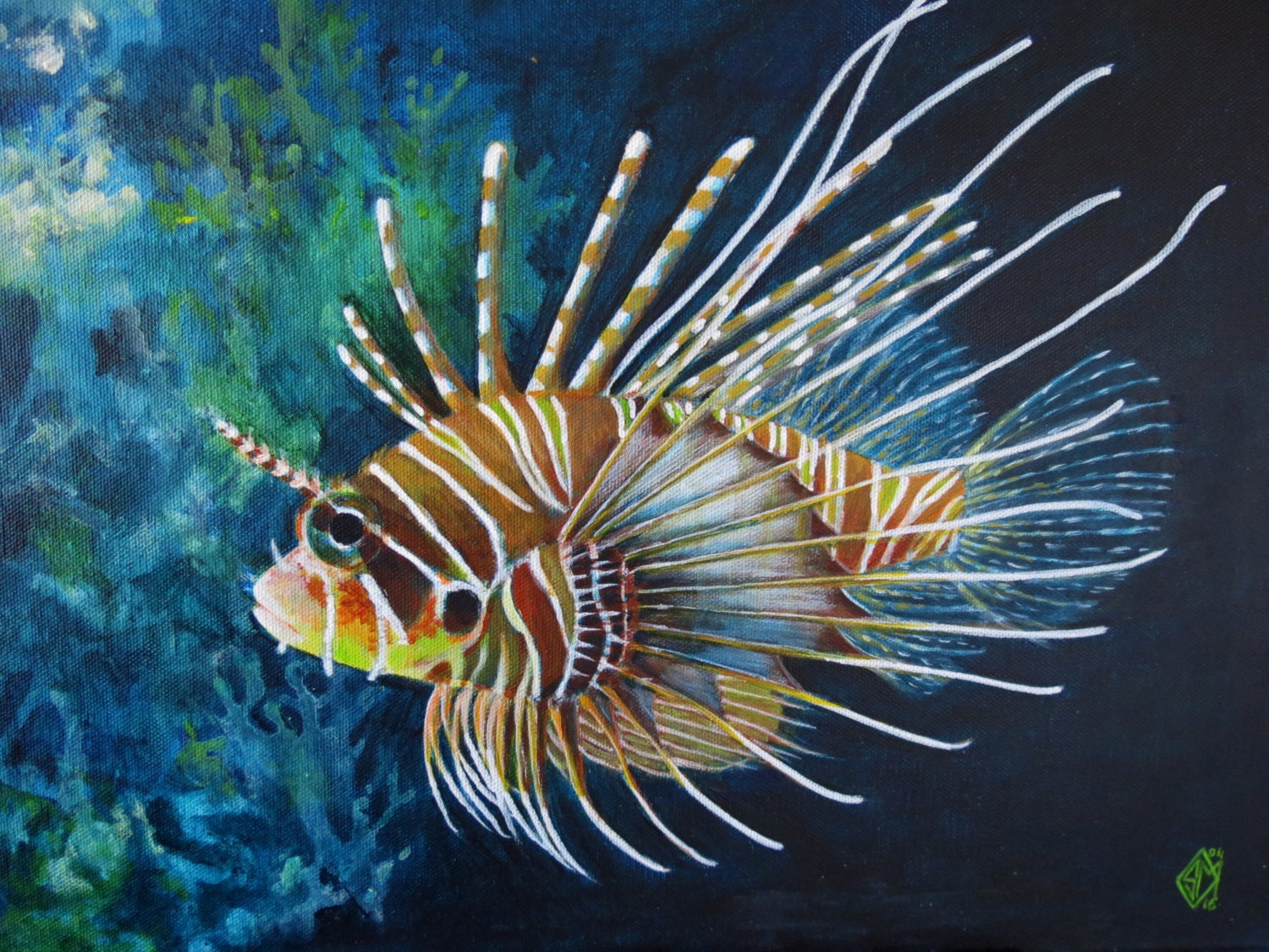 Tropical fish original painting for Tropical fish painting