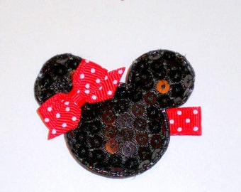 Minnie mouse inspired hair clip
