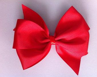 Red Pinwheel Hair Bow