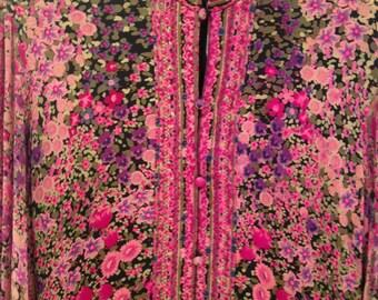 1970s vintage floral maxi dress 100% silk by Leonard Fashion Paris