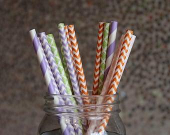 Paper Straws/Drinking Straws/Colorful Drinking Straws/Orange Chevron Straws/Purple Striped Straws/Green Damask Straws/Themed Paper Straws