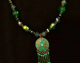 Green Glass Beaded Necklace