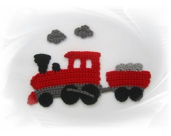 crochet applique, train, train railway application crochet, crochet, sew-on patches,.