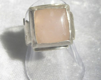 925 silver sterling ring, Sawn ring, Silver ring, Woman ring, Hand made ring, Rose Quartz gem, Square Rose Quartz