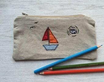 Handmade Boat Scene Pencil Case