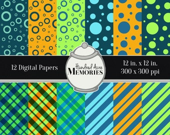 Digital Papers, Summer Brights, 12 inches x 12 inches, 300 ppi (dpi), Scrapbooking & Craft Papers, Downloadable and Printable