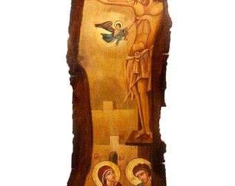 Hand-painted Icon of The Crucifixion of Jesus Christ on a Tree Trunk Slice