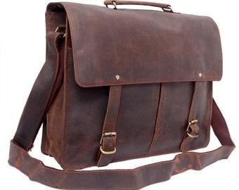 Crossbody Leather Satchel Shoulder Bag Twin Pocket Messenger Bag Leather Satchel Laptop Bag Macbook Bag