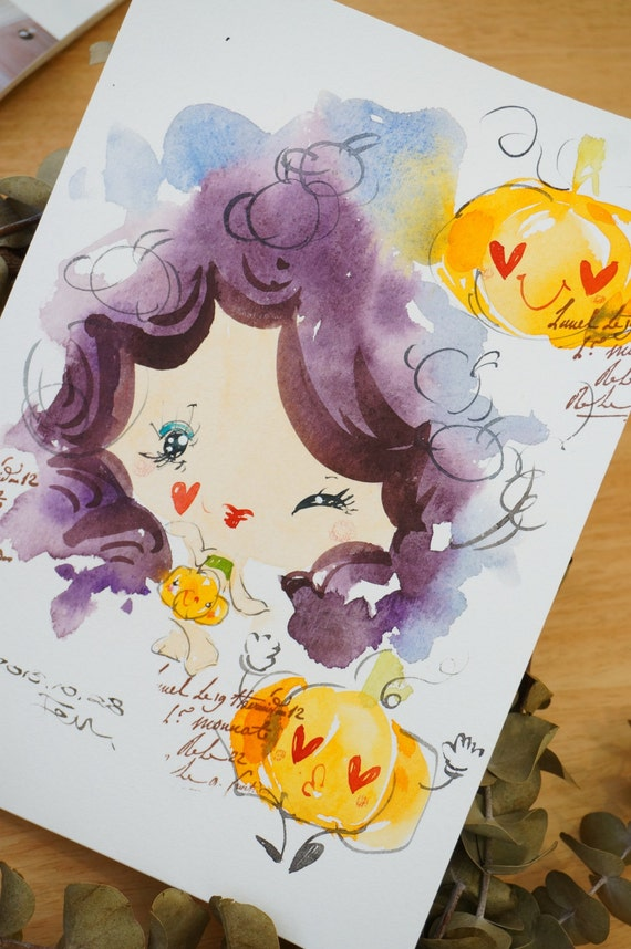 Original Watercolor Painting Halloween series-H004 (7.5 x 9.8 inches)