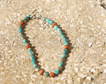 Turquoise and Goldstone beaded necklace