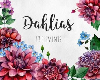 Dahlias clip art Watercolor flowers clipart Purple floral hand painted Burgundy clip art Maroon flowers Botanical arrangements clipart set