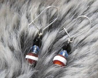 Vintage earrings, Crystal earrings, winter