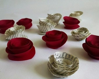 Paper Roses - Set of 12 - Book Page Roses - Card Stock Roses - Paper Flowers - Red Roses