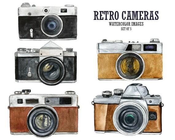 Retro clipart Vintage camera clip art Watercolor clip art