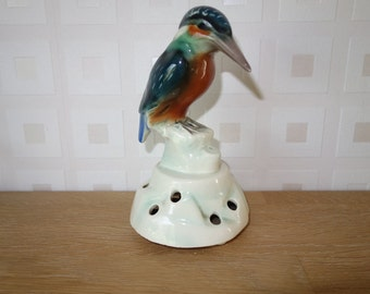 Stunning kingfisher on a rocky flower frog 1950's