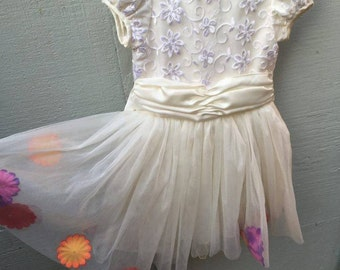 Handmade Vintage Toddler's Floral Organza Dress 3T/4T Wedding Special Occassion
