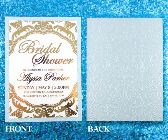 Gold Foil Stamped Wedding Invitations: Gold Foil And Embossed Invitation Wedding Invite By