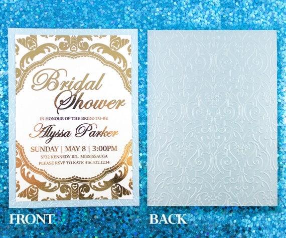 Gold Embossed Wedding Invitations: Gold Foil And Embossed Invitation Wedding Invite By