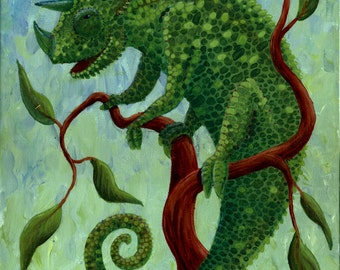 Stylized painting of a happy chameleon
