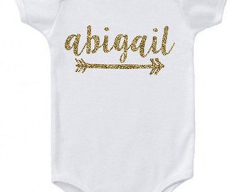 Personalized Monogram Onesie Gift with Glitter for Baby Girl Onesie for Baby Girl Baby Gift Baby Girl Clothes Monogram Gift