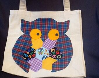 18 x 18 100% owl appliqued tote shopping bag