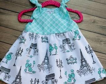 Girl Paris Dress, Eiffel Tower Dress, Girls sun Dress, Toddler Sun Dress, Paris Sun Dress, Toddler Paris Dress, French Poodle Dress