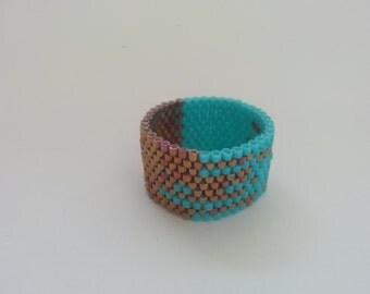 Handmade Turquoise and Bronze Color Miyuki Beads Rings