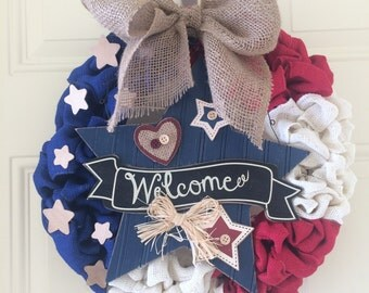 Rustic Stars and Stripes Wreath
