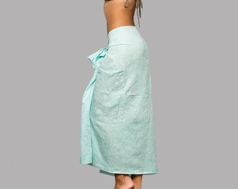 SALE 30% OFF: Turquoise linen beach pareo with white embroidered mandala