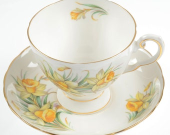 Royal Tuscan Birthday Flowers March's Daffodil Tea Cup Saucer English Bone China