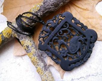 Jade, bird & blossom, pendant, amulet, talisman, necklace