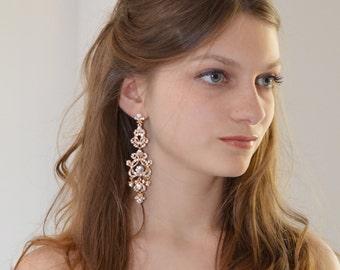 Vintage Bridal Earrings Gold Chandelier Earrings, Vintage Gold Earrings, Chandelier Earrings Wedding,  Vintage Wedding Jewelry