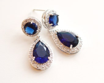 Blue Wedding  Earrings, Blue Wedding Jewelr, Sapphire Earrings, Crystal Bridal Earrings, Teardrop CZ Earrings, Something, Blue Bridesmaid